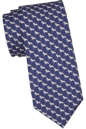 Salvatore Ferragamo Men's Zebra-Print Silk Tie - Navy