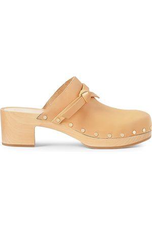 Loeffler Randall Women's Leather Low Heel Clogs - Honey - Size 9.5