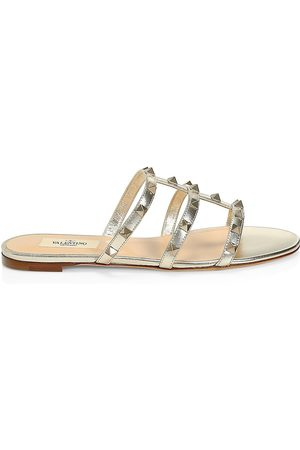 VALENTINO Women's Rockstud Flat Leather Slides - - Size 8.5 Sandals