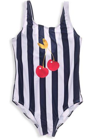 Snapper Rock Little Girl's & Girl's Ma Cheri Striped One-Piece Swimsuit - Navy - Size 6