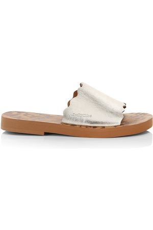 See by Chloé Women's Essie Metallic Leather Slides - - Size 6 Sandals