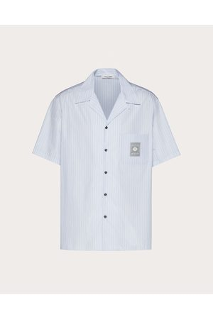 VALENTINO Men Shirts - Valentino Label Shirt Man Azure Cotton 100% 46