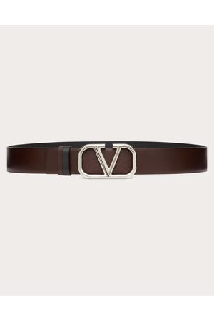 VALENTINO GARAVANI Men Belts - Vlogo Signature Calfskin Belt Man Bitter Chocolate/ 100% Pelle Di Vitello - Bos Taurus 100