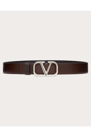 VALENTINO GARAVANI Men Belts - Vlogo Signature Calfskin Belt Man Bitter Chocolate/ 100% Pelle Di Vitello - Bos Taurus 100