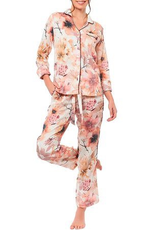 The Lazy Poet Women's Emma Winter Garden 2-Piece Long Pajama Set - - Size XS