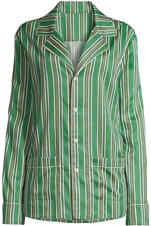 Les Girls Les Boys Women's Striped Button-Up Pajama Shirt - Stripe - Size Large