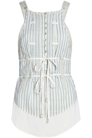 Altuzarra Women's Florian Sleeveless Pinstripe Button Top - Ivory - Size 4
