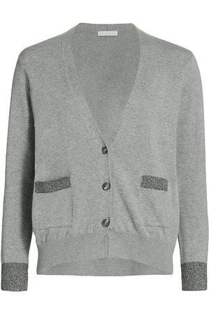 Fabiana Filippi Women's Lurex Stripe Cotton Cardigan - Grey - Size 14