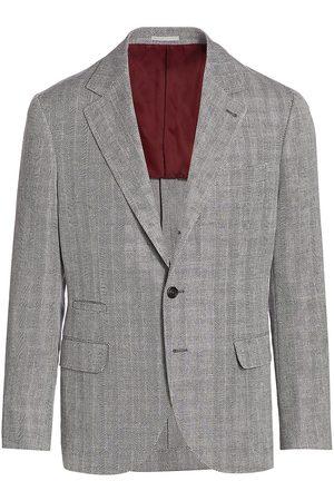 Brunello Cucinelli Men's Herringbone Sportcoat - Grey - Size 38