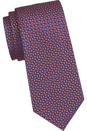 Charvet Men's Neat Ivy Leaf Silk Tie - Navy