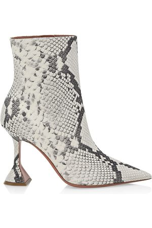 Amina Muaddi Women's Giorgia Snakeksin-Embossed Leather Ankle Boots - Prnited Py - Size 5