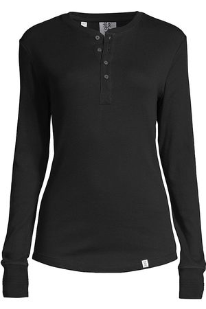 Les Girls Les Boys Women's Fine Rib Henley Top - - Size XS