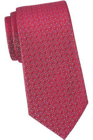 Charvet Men's Net Micro Dot Swirl Silk Tie - Burgundy