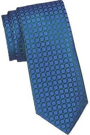 Charvet Men's Neat Geo Thread Silk Tie - Teal