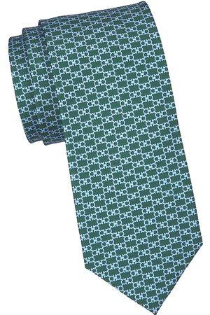 Salvatore Ferragamo Men's Double Gancini Silk Tie - F Verde