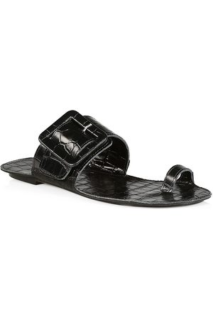 DEFINERY Women's Loop Ring Obsidian Croc-Embossed Leather Sandals - - Size 7
