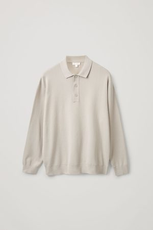 COS KNITTED LONG-SLEEVE POLO SHIRT