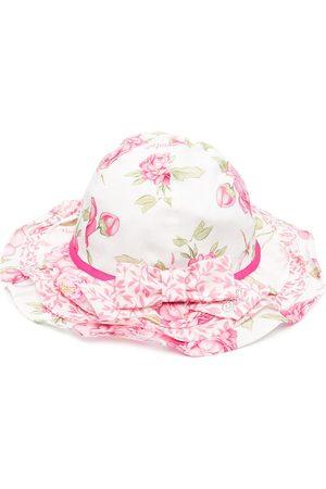 MONNALISA Hats - Floral-print cotton hat - Neutrals