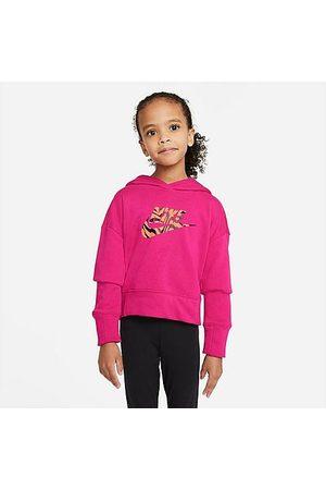 Nike Girls' Sportswear Zebra Infill Cropped Pullover Hoodie in /Fireberry