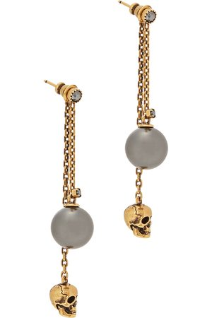 Alexander McQueen Women Earrings - Skull and faux pearl -tone drop earrings