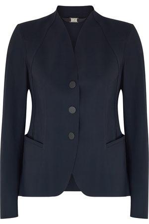 High Women Puffer Jackets - Charismatic navy stretch-nylon jacket