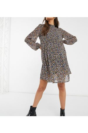 Pieces Maternity Mini smock dress with volume sheer sleeve in ditsy floral-Multi
