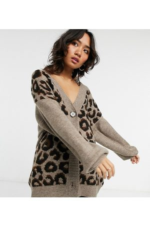 ASOS Cardigans - Petite oversized cardigan in animal pattern
