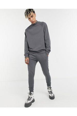 ASOS Funnel neck tracksuit with skinny sweatpants in dark -Grey