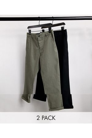 ASOS 2 pack slim chinos in khaki & black-Multi