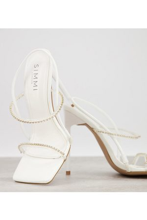 Simmi Wide Fit Simmi London Wide Fit Chanelle heeled sandals with diamante detail in