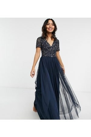 Maya Bridesmaid v neck maxi tulle dress with tonal delicate sequin in navy