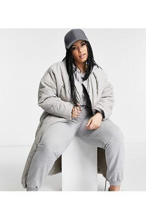 PUBLIC Maxi jacket in quilting-Grey