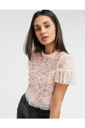 Needle & Thread Embroidered crop top in blush floral