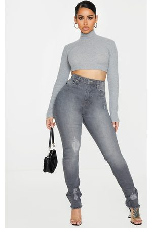 PRETTYLITTLETHING Shape Grey High Waisted Distressed Cuff Jeans