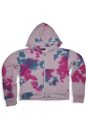 Flowers By Zoe Girl's Tie-Dye Cropped Zip-Up Hoodie - Grey - Size 7