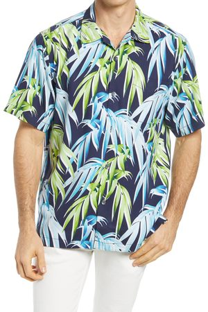 Tommy Bahama Men's Perfect Palmday Leaf Print Short Sleeve Silk Button-Up Shirt