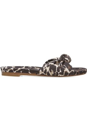 VERONICA BEARD Women's Etra Knotted Leopard-Print Canvas Slides - Leopard - Size 6.5 Sandals