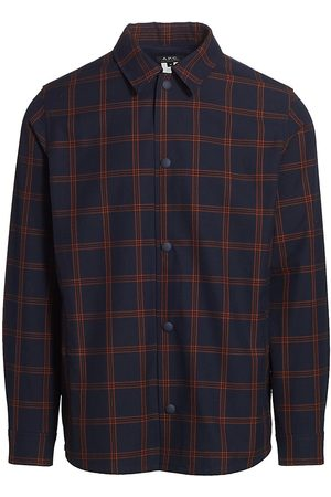 A.P.C. Men's Rodney Technical Check Overshirt - Dark Navy - Size Small