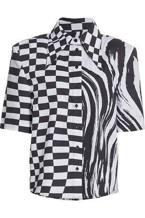Christopher John Rogers Women's Padded Shoulder Short-Sleeve Shirt - Wave Check - Size XS