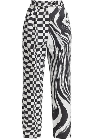 Christopher John Rogers Women's Pleated Relaxed-Fit Pants - Wave Check - Size 6