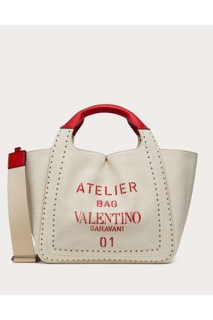 VALENTINO GARAVANI Small Atelier Bag Canvas Tote Women Multicolored Cotton 63%, Linen 37% OneSize