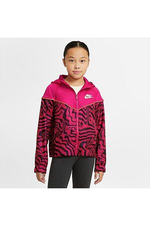 Nike Girls' Sportswear Zebra Printed Jacket in /Fireberry Size Small 100% Polyester