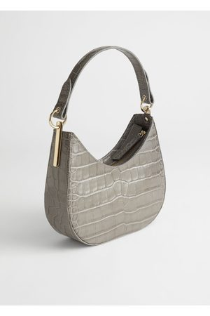 & OTHER STORIES Croc Embossed Leather Shoulder Bag - Grey