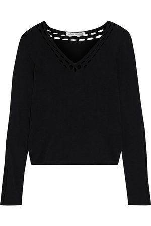 AUTUMN CASHMERE Women Sweaters - Woman Open Knit-trimmed Stretch-knit Sweater Size S