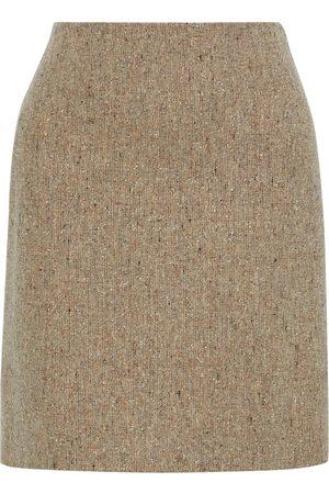 THEORY Women Mini Skirts - Woman Donegal Wool-blend Tweed Mini Skirt Neutral Size 10