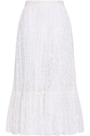 VALENTINO Woman Cotton-blend Corded Lace Midi Skirt Size 42