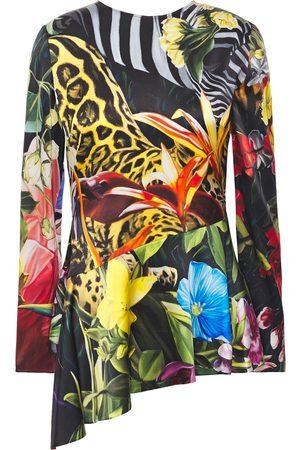 Roberto Cavalli Woman Asymmetric Printed Stretch-silk Satin Peplum Top Animal Print Size 40