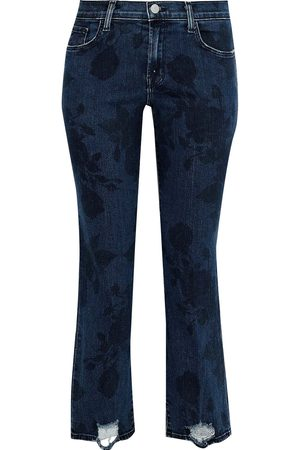 J Brand Woman Selena Distressed Printed Mid-rise Straight-leg Jeans Dark Denim Size 28