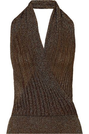 Missoni Women Halterneck Tops - Woman Wrap-effect Metallic Crochet-knit Halterneck Top Size 42