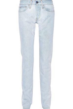 Helmut Lang Women Slim - Woman Masc Lo Drainpipe Faded Low-rise Slim-leg Jeans Light Denim Size 25